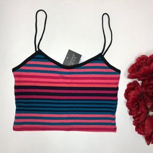 NWT Spaghetti Strap Top Shop Striped Crop US 6